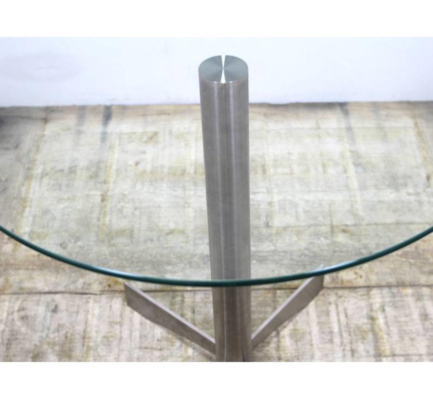 Ronde Glazen Bijzettafeltjes.Ronde Glazen Bijzettafel 80 X 73 Aluminium Onderstel