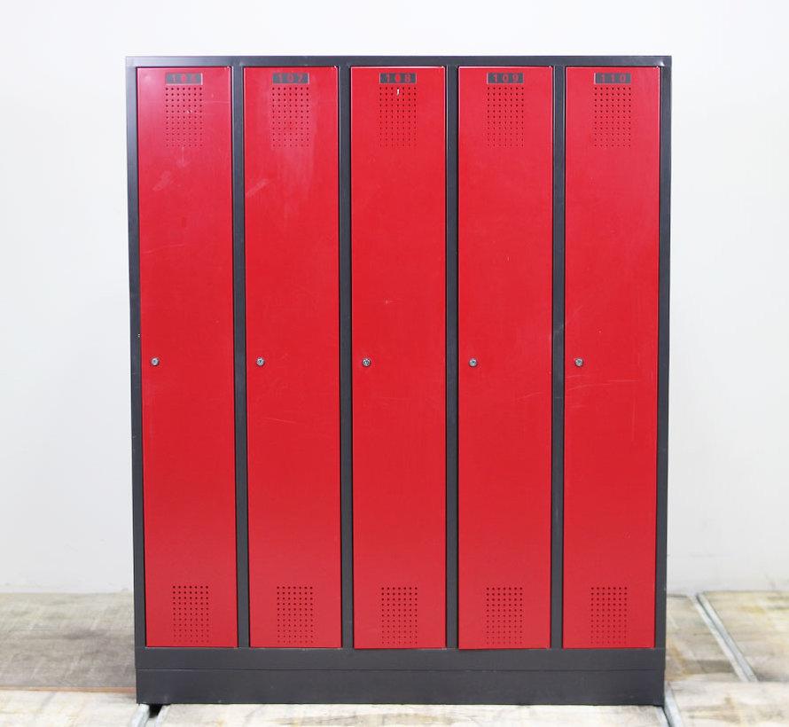 Scheeres Lockerkast 5 Deuren | Rood & Zwart