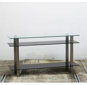 Lamers Kantoormeubelen Glazen Design Dressoir Zwart | 77 x 140 x 40 cm