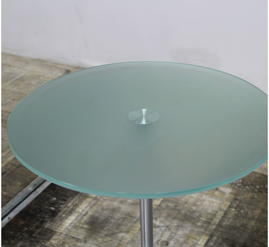 Ronde Glazen Bijzettafel   Ø 60 cm - Verchroomde Voet