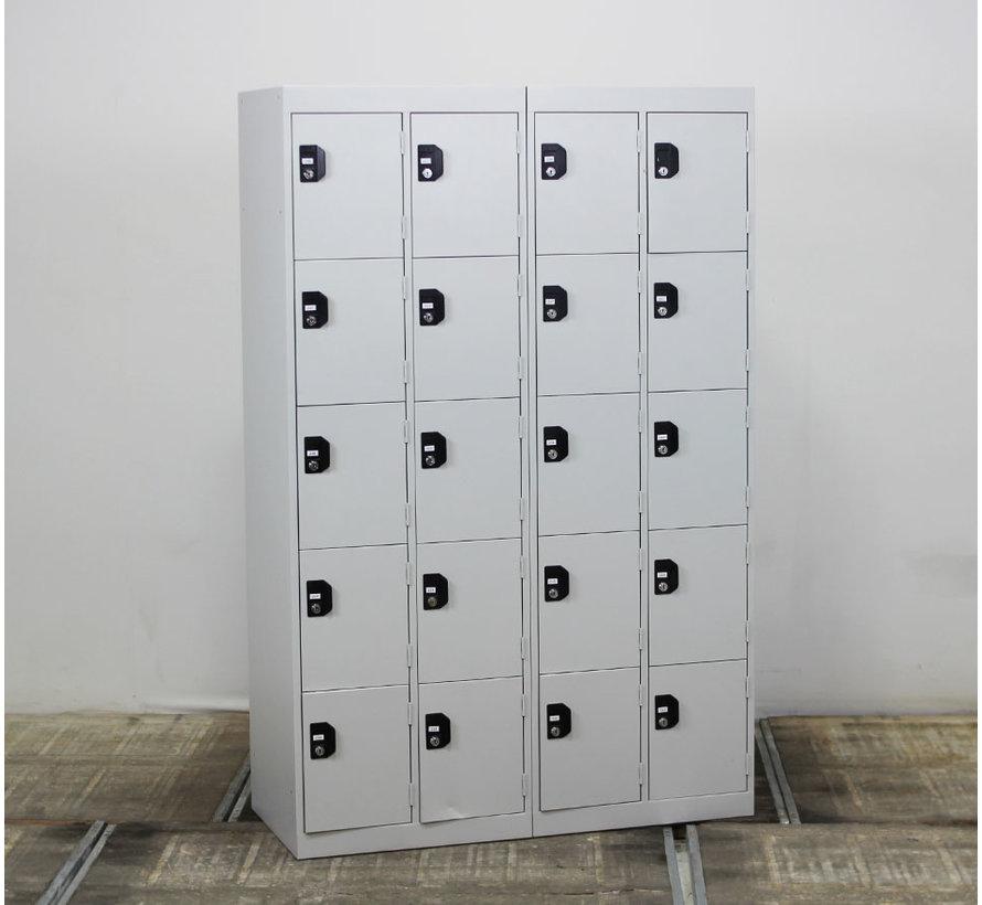Lockerkast 20 Vakken Lichtgrijs   180 x 117 x 50 cm