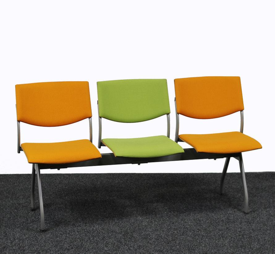 Ahrend 3 Zits Wachtkamerbank Oranje / Groen