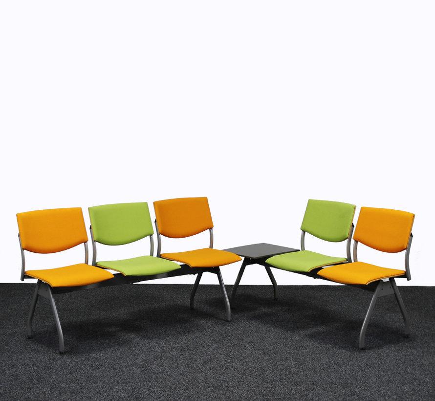 Ahrend 2 Zits Wachtkamerbank Oranje / Groen