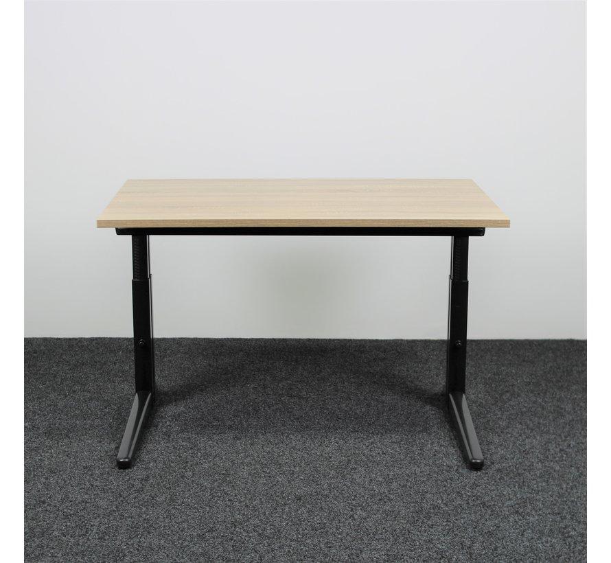 Ahrend Essa Knop Verstelbaar Bureau   120 x 80 cm   Nieuw Midden Eiken Blad