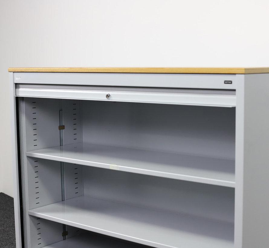Zwartwoud Zettoe Roldeurkast   125 x 120 x 47 cm - Aluminium