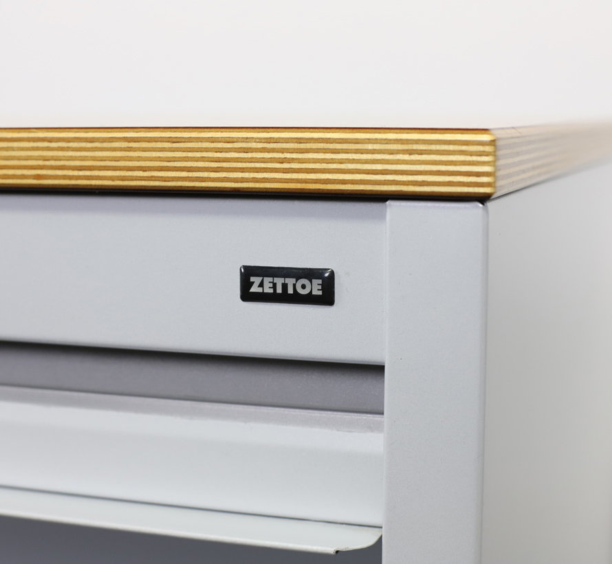 Zwartwoud Zettoe Roldeurkast | 125 x 120 x 47 cm - Aluminium