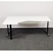 Lamers Kantoormeubelen Hoekbureau Links   Zwart Onderstel - Wit Blad 200x120 cm