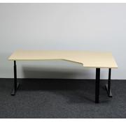 Lamers Kantoormeubelen Hoekbureau Rechts | Zwart Onderstel - Licht Peren Blad 200x120 cm