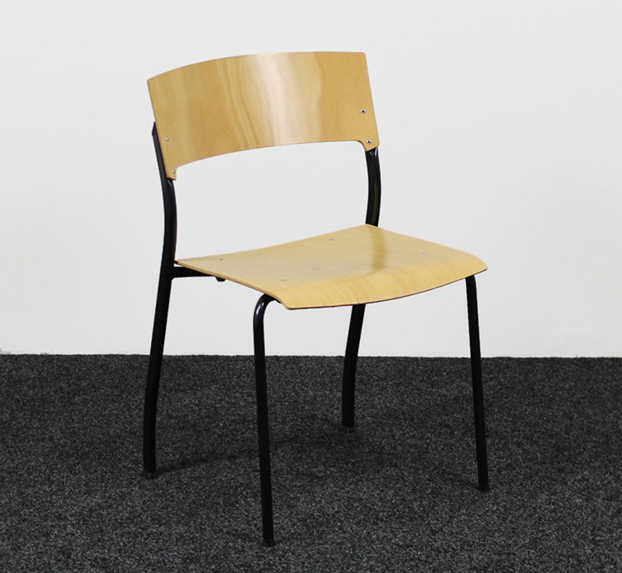 Ahrend Kantinestoel 4-Poot - Zwart/Beuken