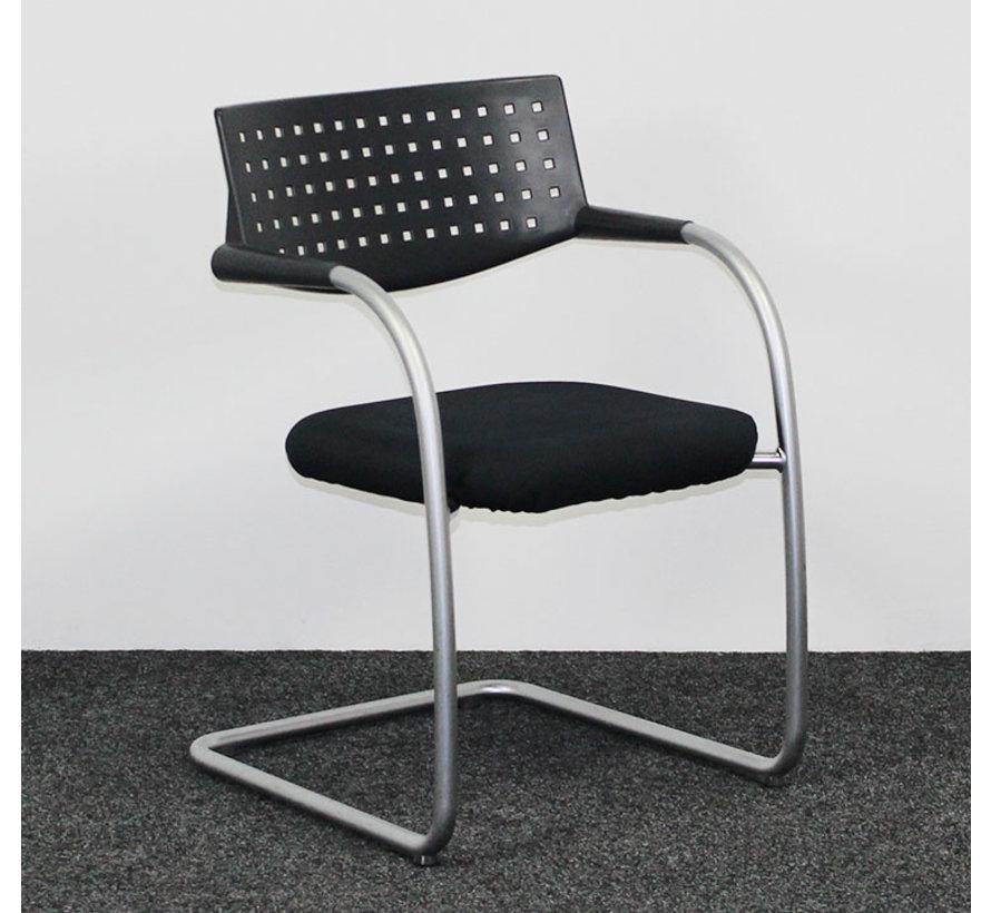 Vitra Visavis 1, Vergaderstoel Zwart / Aluminium
