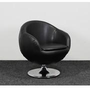 Mathi Design Mathi Design Lederen Draai Fauteuil Zwart - Nieuwe Bekleding
