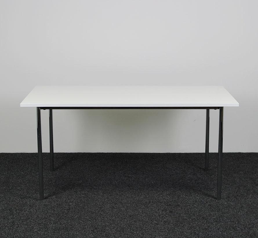 Kantinetafel Chroom - Wit Blad 200 x 80 cm