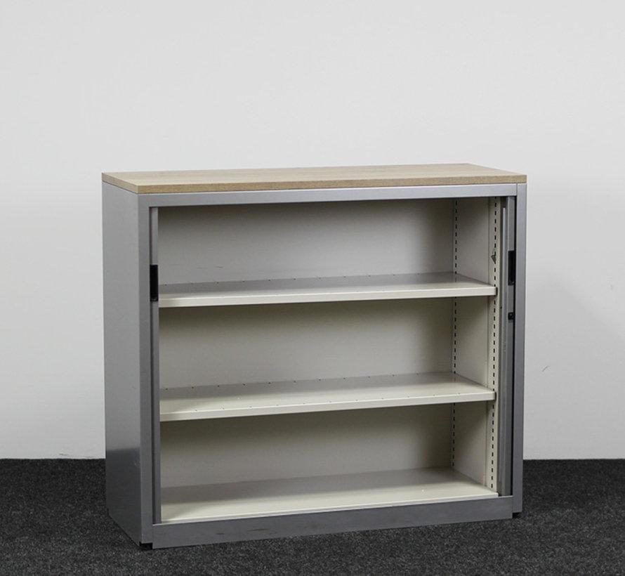 Aspa Roldeurkast Grijs | 106 x 120 x 47 cm - Nieuw Midden Eiken Topblad