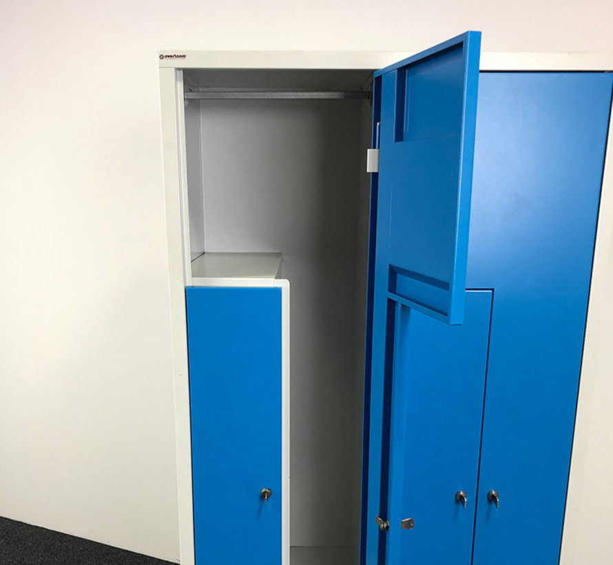Overtoom Locker L-Deuren Grijs/Blauw | 185 x 83 x 50 cm