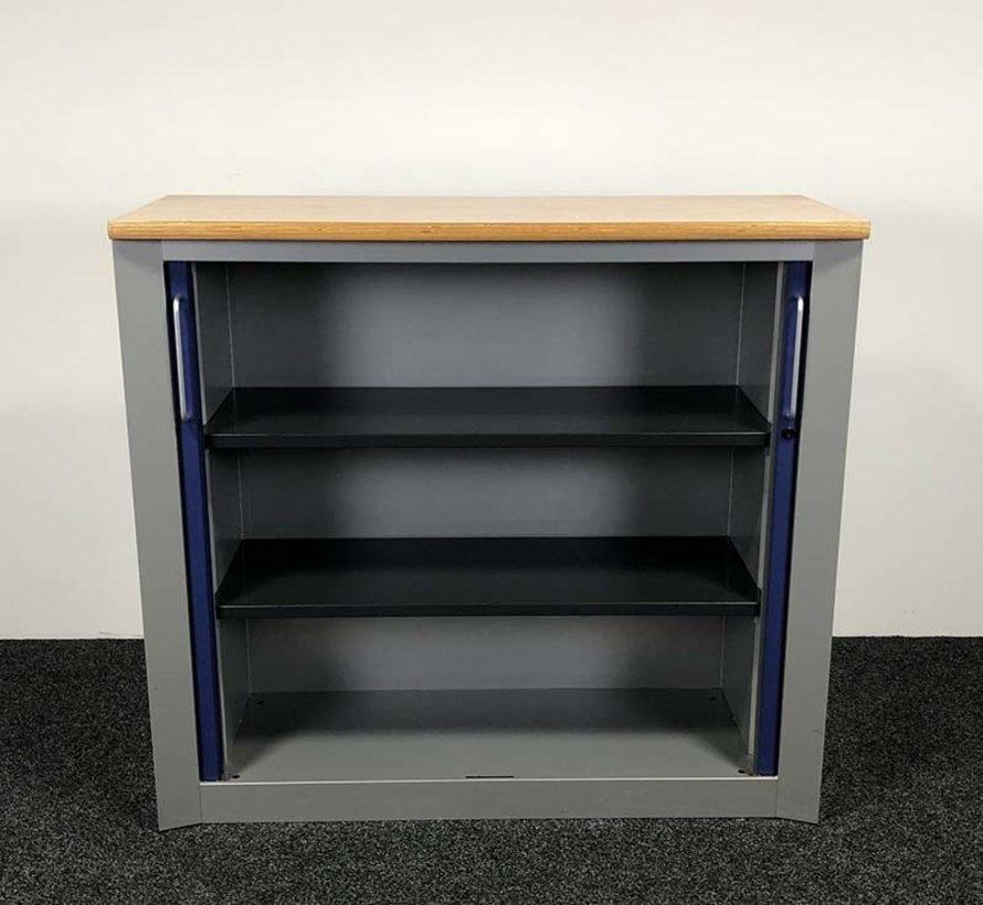 Kembo Roldeurkast Grijs / Blauw - 122 x 132 x 50 cm