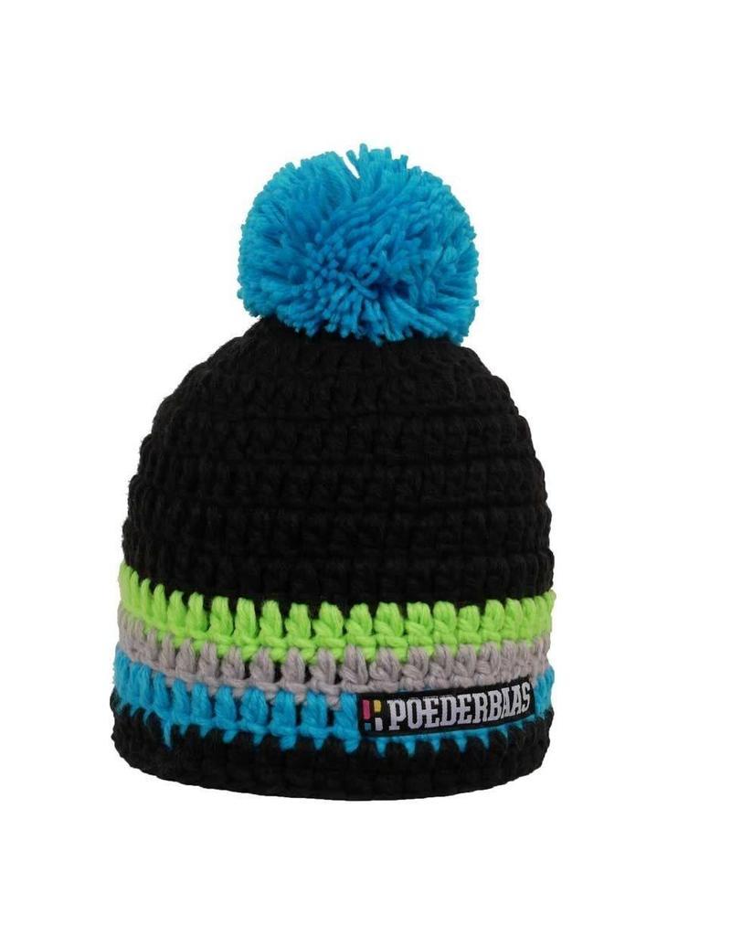 Poederbaas Kleurrijke Muts Zwart/Blauw/Grijs/Groen