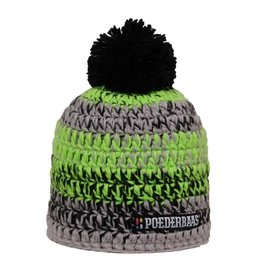 Poederbaas Kleurrijke Muts Zwart/Groen/Grijs