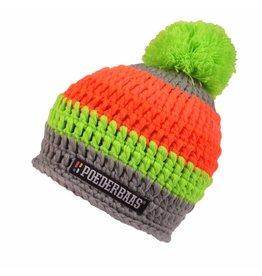 Poederbaas Kleurrijke Muts Grijs/Groen/Oranje