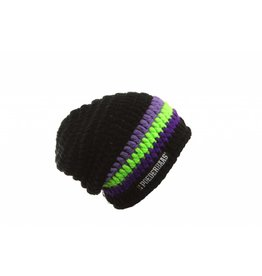 Poederbaas Large Beanie Black/Purple/Green