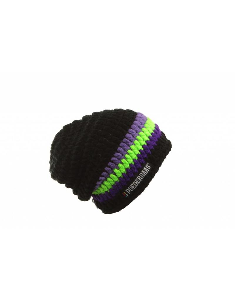 Poederbaas Large Beanie Black/Purple/Green