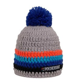 Poederbaas Kleurrijke Muts Grijs/Oranje/Blauw/Zwart