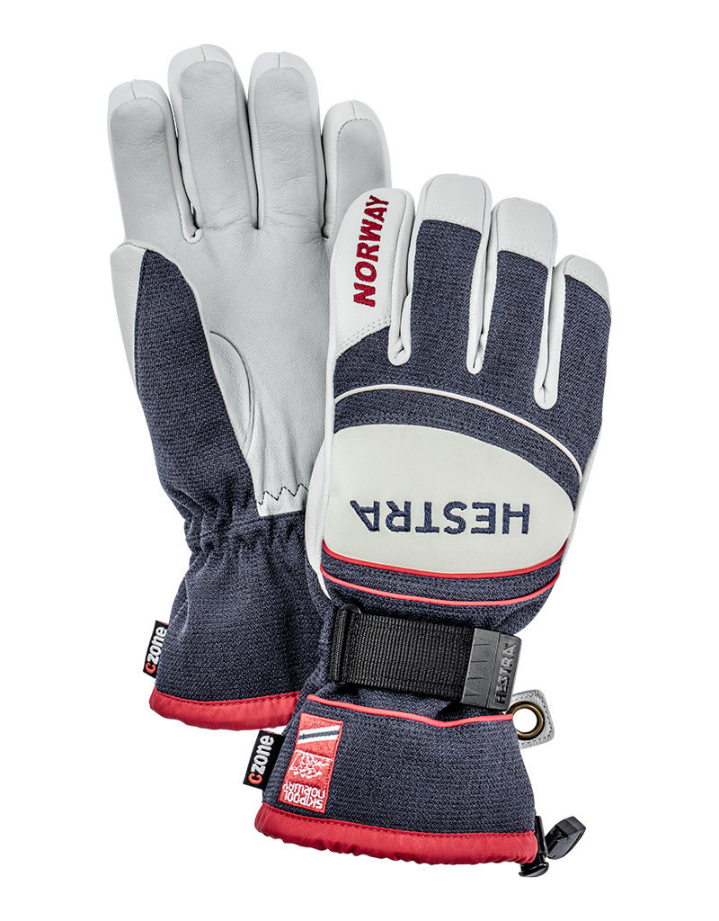 Hestra Army Leather Coach CZone Gloves Navy Red
