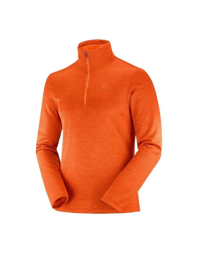 Salomon Transition Half zip Mid M Red Orange / Heather