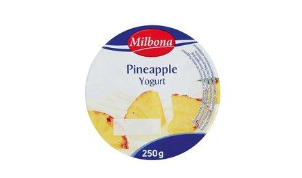 MILBONA Halfvolle yoghurt met ananas of mango.