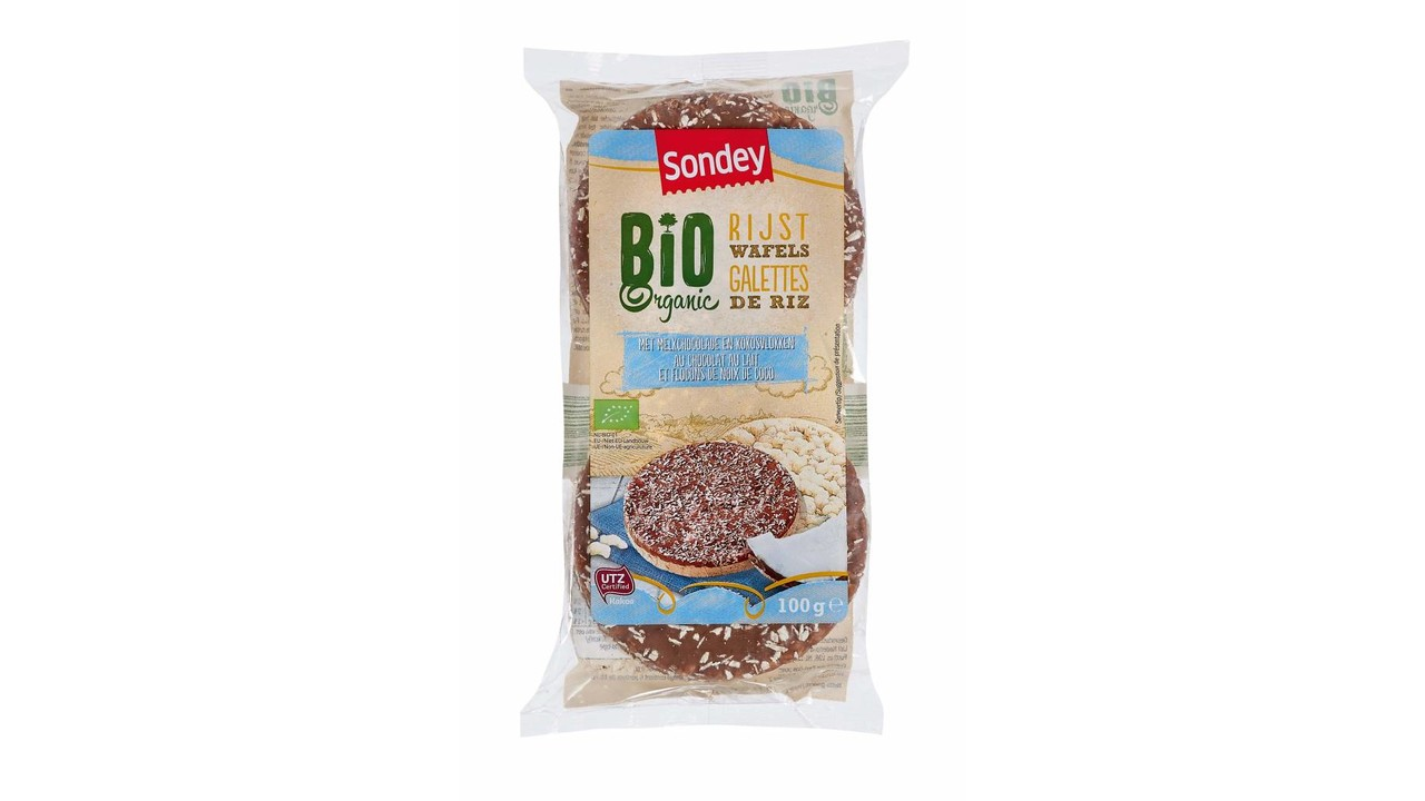 SONDEY BIO rijstwafels volle melkchocolade met coco's
