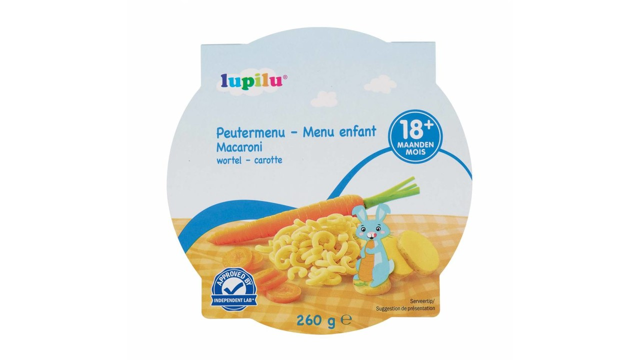 LUPILU Peutermenu worteltjes met pasta >18m