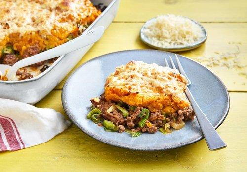 Ovenschotel met gehakt en zoete aardappel