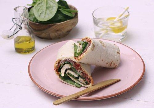 Wraps met spinazie en kruidenkaas