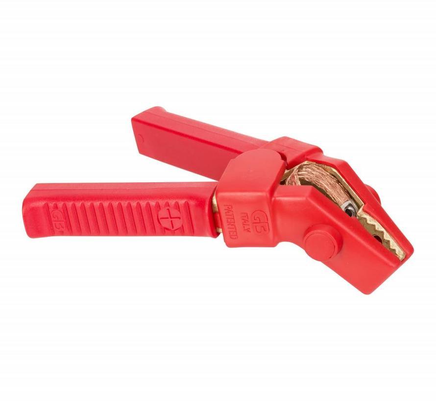 Volledig geïsoleerde accuklem 800A - hoekklem met copper braiding - Rood