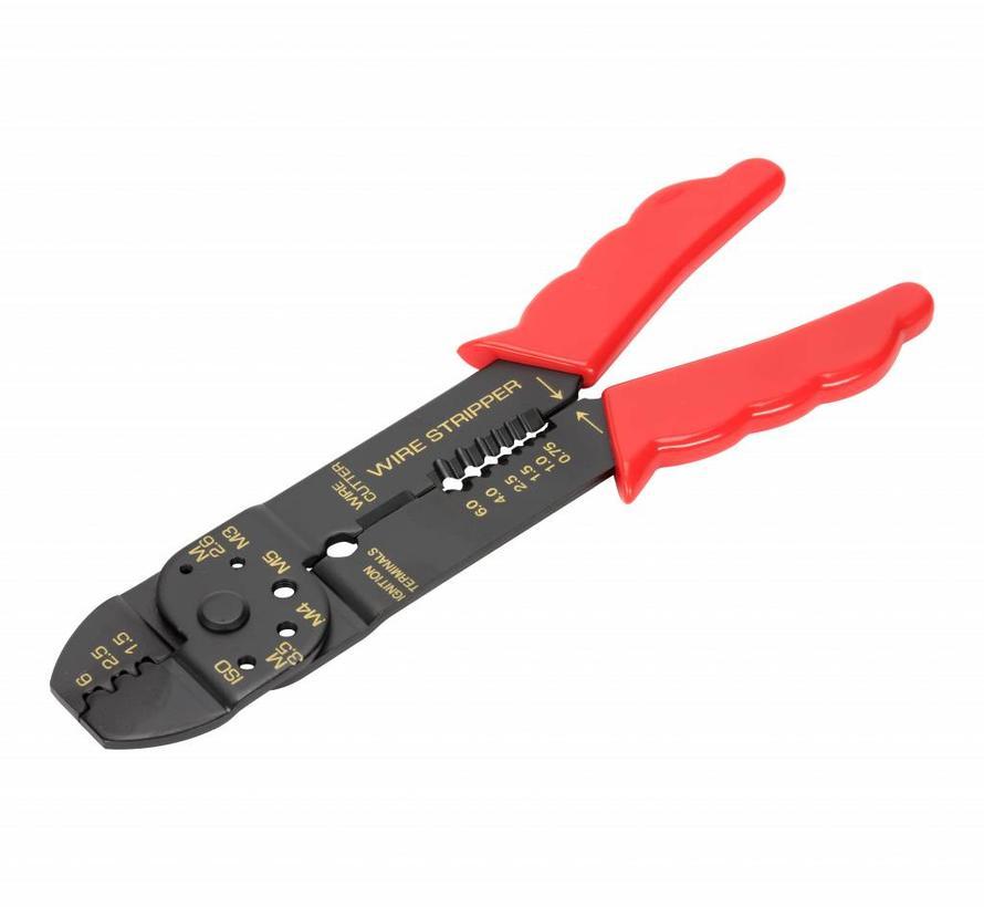 Knip-, strip- en krimptang voor open-barrel kabelschoentjes