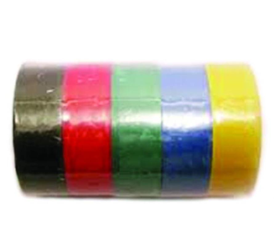 PVC isolatie tape - 19 mm x 10 m - set van 5 rollen - diverse kleuren