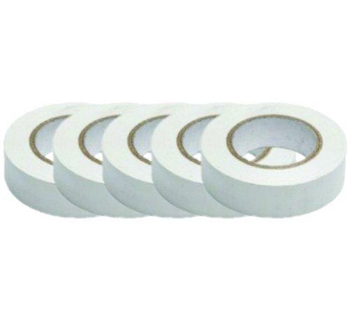 PVC isolatie tape - 15 mm x 10 m - set van 5 rollen - wit