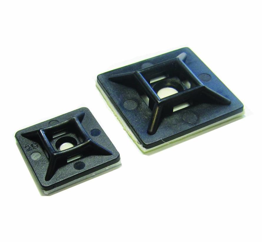 Plakzadels voor kabelbinders zwart - 100 stuks