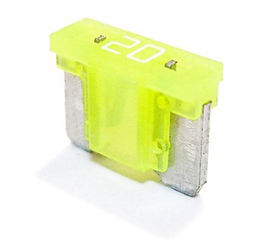 Mini steekzekering laag profiel 20  Ampère / 58 V - 50 stuks