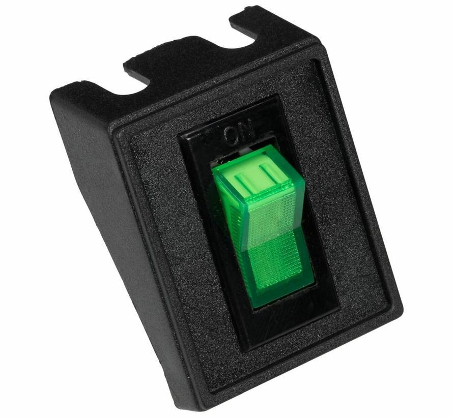Wipschakelaar groen met lampje