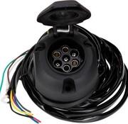 Universele kabelset voor trekhaak - 7-Polig met mistachterlicht uitschakeling incl. montage materiaal - lengte: 1.5m