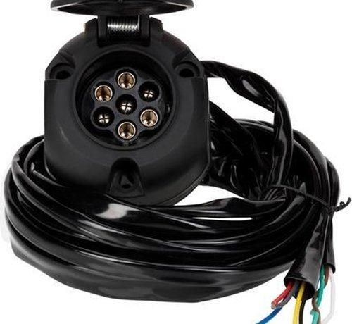 Universele kabelset voor trekhaak - 7-Polig met mistachterlicht uitschakeling incl. montage materiaal - lengte: 2m