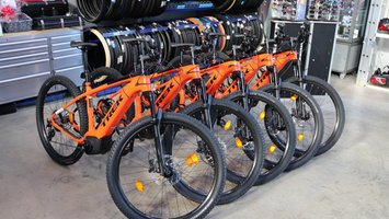 Trek e-mountain electric bikes on demonstration