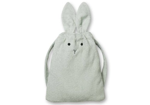 Liewood 2-in-1 Handdoek en rugzak Rabbit dusty mint