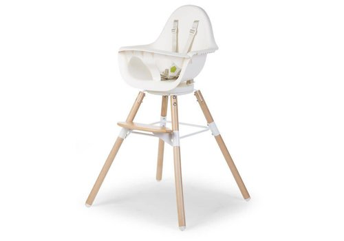 Childhome Evolu ONE.80° eetstoel 2-in-1 + beugel Naturel/wit