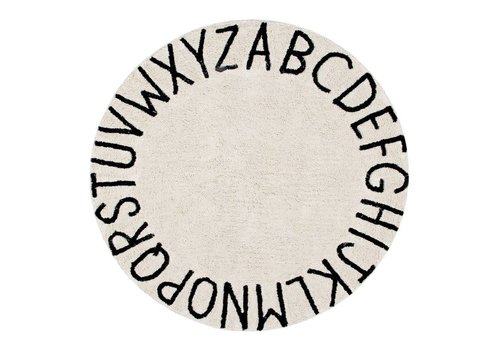 Lorena Canals Rug Round ABC Ø150 natural-black