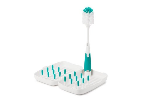 OXOtot On-The-Go Drying Rack & Bottle Brush Teal