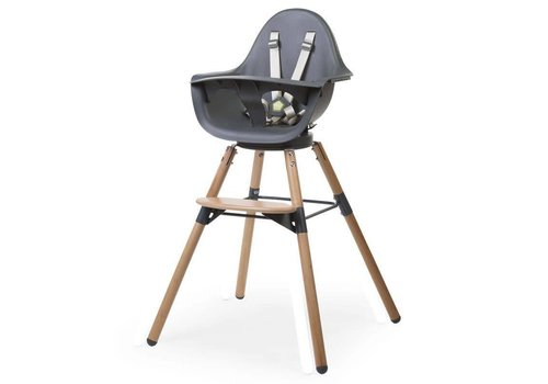 Childhome Evolu ONE.80° eetstoel 2-in-1 + beugel Naturel/antraciet