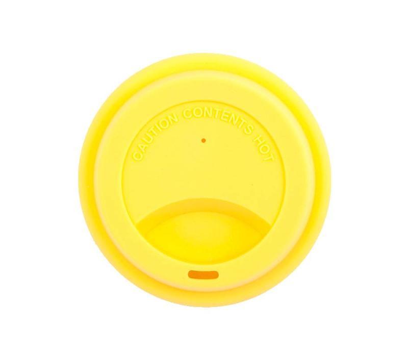 Siliconen deksel voor spoelbeker Yellow