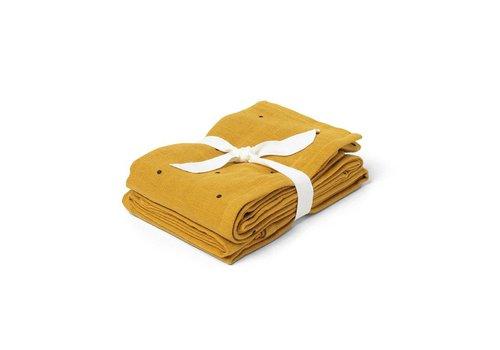 Liewood Tetradoek Hannah Classic dot 70x70 2st Mustard