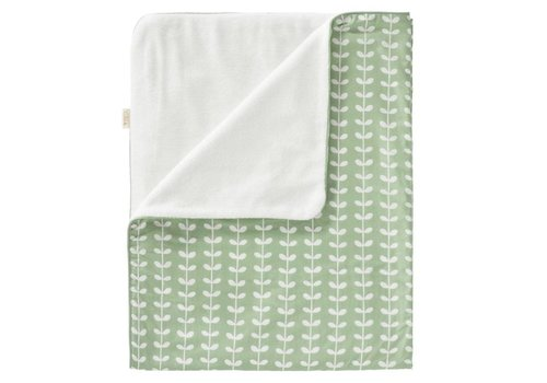 Fresk Blanket cotton/velvet 80x100cm Leaves mint